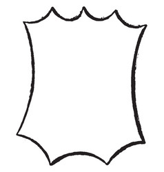 Pointed shield with a base division vintage vector