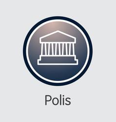 Polis virtual currency - graphic symbol vector