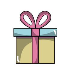 Present gift box with ribbon decoration design vector