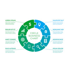 puzzle circle infographics puzzles piece in round vector image