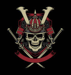 Samurai warrior skull with crossed katana swords vector