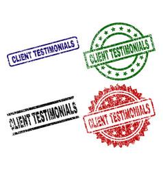 Scratched textured client testimonials stamp seals vector