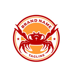 Sea crab circle stamp logo design vector