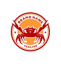 sea crab circle stamp logo design vector image