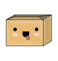 Sealed kawaii cardboard box in colored crayon vector