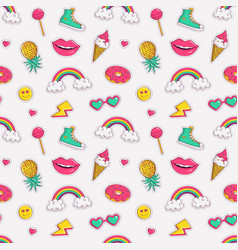 seamless pattern with cute patches vector image