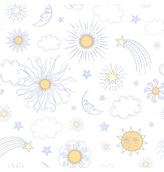 Seamless pattern with doodle sun vector image