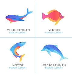 set abstract emblems and logo design templates vector image