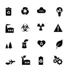 Set of flat icons - ecology and environment vector image
