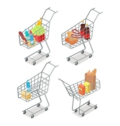 Set of Trolleys with Food Supermarket Equipment vector image
