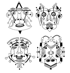 Set unusual hand draw with a male face portrait vector