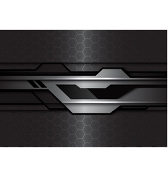 silver black futuristic polygon hexagon mesh vector image