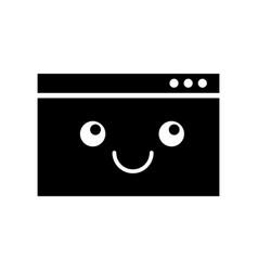 Template computer kawaii character vector
