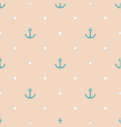 Tile sailor pattern with blue anchor and dots vector