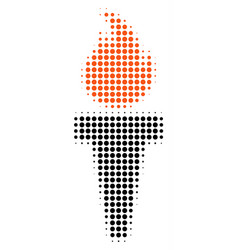 torch fire halftone icon vector image