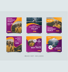 Travel social media feed post sale template vector