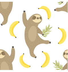 tropical seamless pattern with dancing sloths vector image