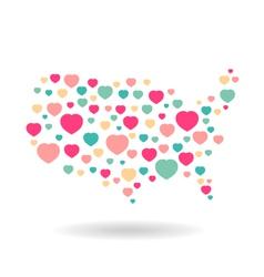 USA pattern hearts map vector