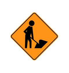 usa traffic road sign road workers are in or near vector image