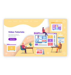 video tutorial online education training e vector image