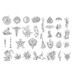 witchcraft kit magic occult and alchemical vector image