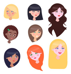 Women faces set with long and short hairstyles vector