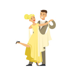 young ballroom dancers in formal costumes colorful vector image