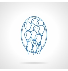 Balloons blue flat line icon vector image