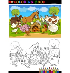Farm and Livestock Animals for Coloring vector image vector image
