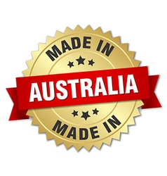 Made in australia gold badge with red ribbon vector