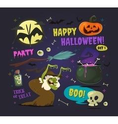 Set of cartoon halloween elements vector image