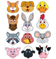 Animal head cartoon set vector image