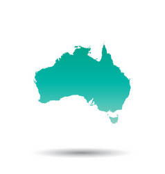 australia map colorful turquoise on white vector image