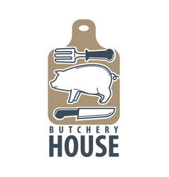 butchery house logo label isolated on white vector image