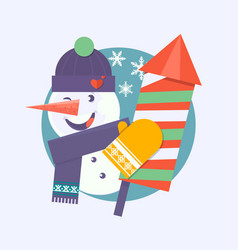 christmas card with snowman holding firecracker vector image vector image