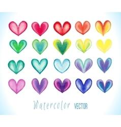 Colorful watercolor hearts set vector image vector image