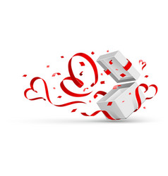 Open gift with hearts vector image vector image