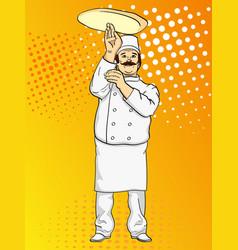 pop art man cook pizza chef tossing pizza dough vector image