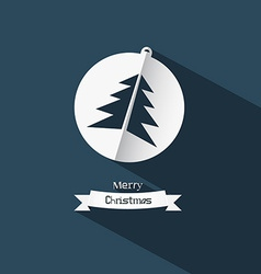 Christmas Ball and Tree Made from Paper on Blue vector image vector image