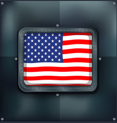 flag of america on metalic wall vector image vector image