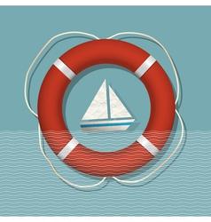 Lifebuoy and paper sailboat vector image vector image
