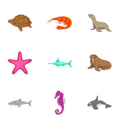 marine animals from red book icons set vector image