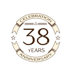 thirty eight years anniversary celebration logo vector image