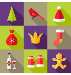 9 Christmas Flat Icons Set 6 vector image vector image