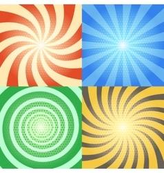 Comic book backgrounds set Retro sunburst vector image vector image