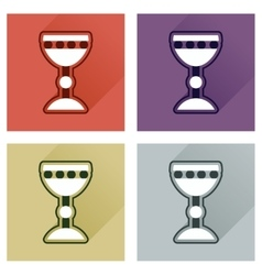 Concept of flat icons with long shadow holy grail vector