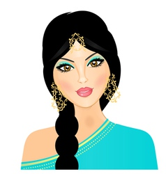 eastern indian girl vector image vector image