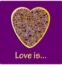 Golden ornamental floral filigree heart vector image