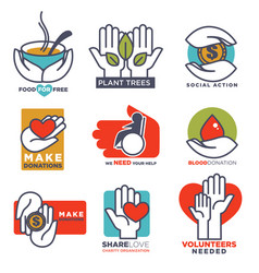 hand icons flat hands templates for social vector image vector image