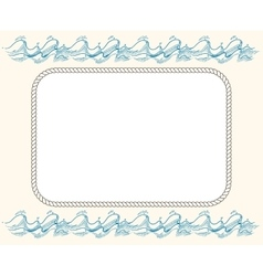 Nautical frame with ropes and blue waves vector image